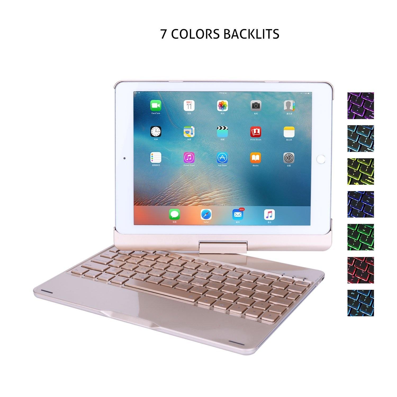Bàn Phím Bluetooth iPad 9.7 inch Ốp Lưng xoay 360° Đèn LED PKCB180